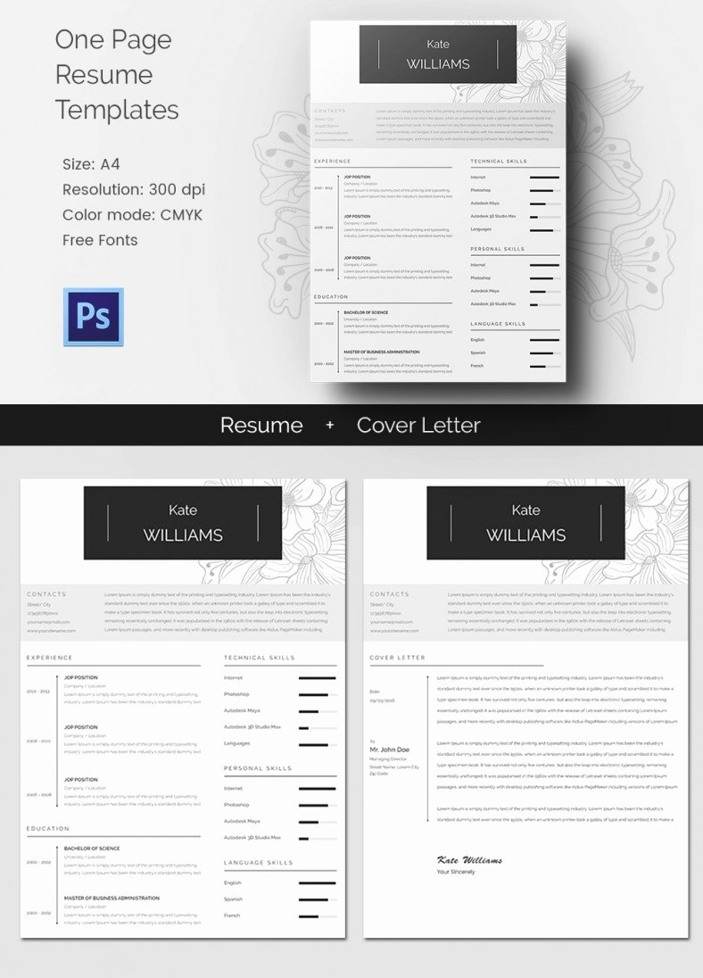 1 Page Resume Template Beautiful 41 E Page Resume Templates Free Samples Examples