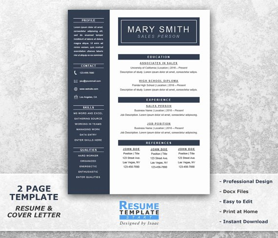 1 Page Resume Template Beautiful E Page Resume Template Word Resume Cover Letter Templates