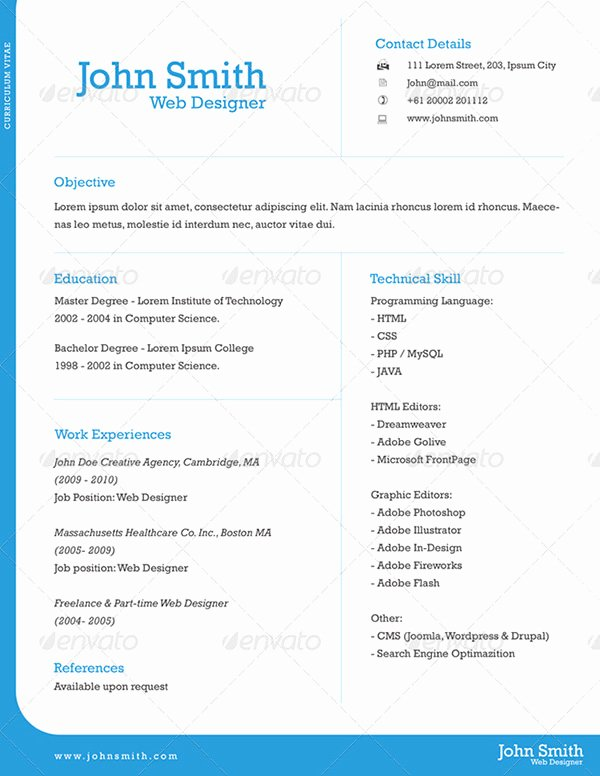 1 Page Resume Template Best Of E Page Resume Template