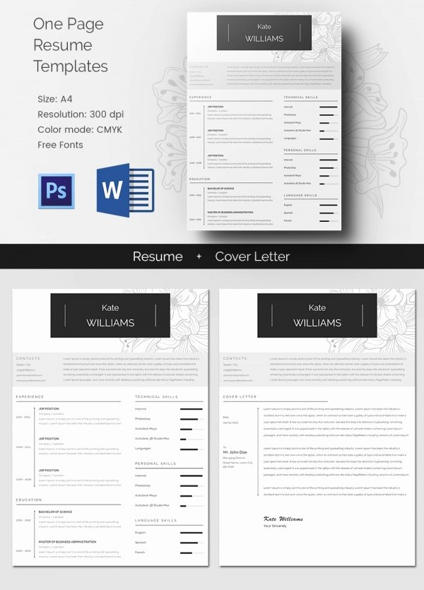 1 Page Resume Template Best Of Microsoft Word Resume Template – 99 Free Samples