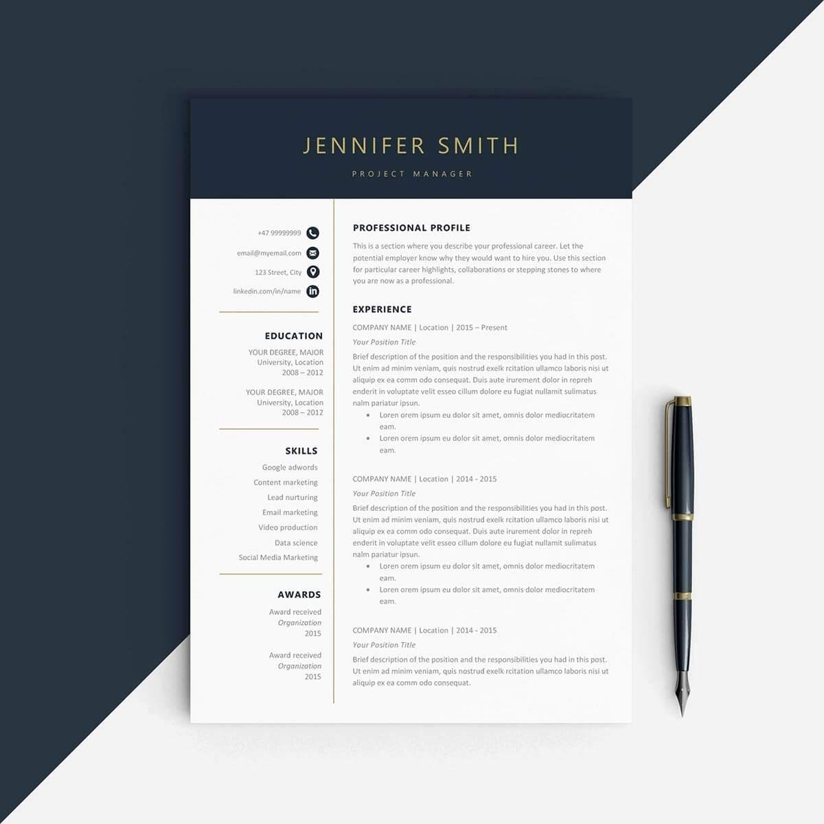 1 Page Resume Template Inspirational E Page Resume Templates 15 Examples to Download and Use now