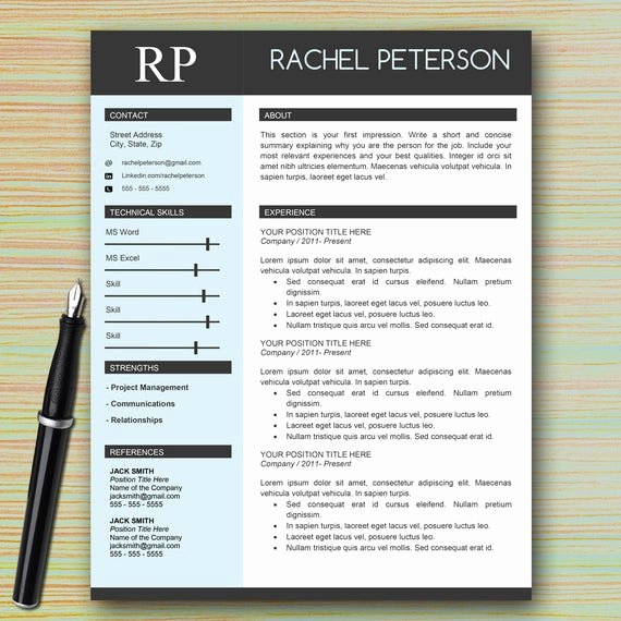 1 Page Resume Template Inspirational Professional E Page Resume Template for Microsoft Word