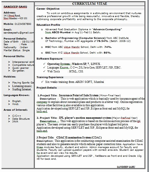 1 Page Resume Template Lovely E Page Resume format In Doc