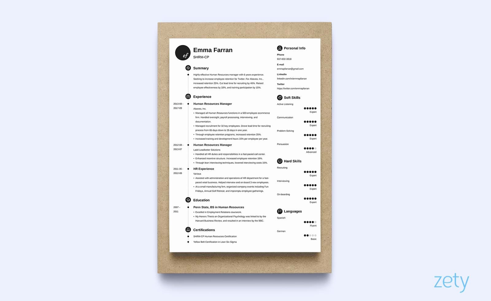 1 Page Resume Template Lovely E Page Resume Templates 15 Examples to Download and Use now