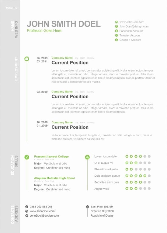 1 Page Resume Template New Modern One Page Resume Template