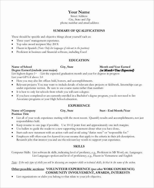 1 Page Resume Template New Sample E Page Resume 9 Examples In Word Pdf