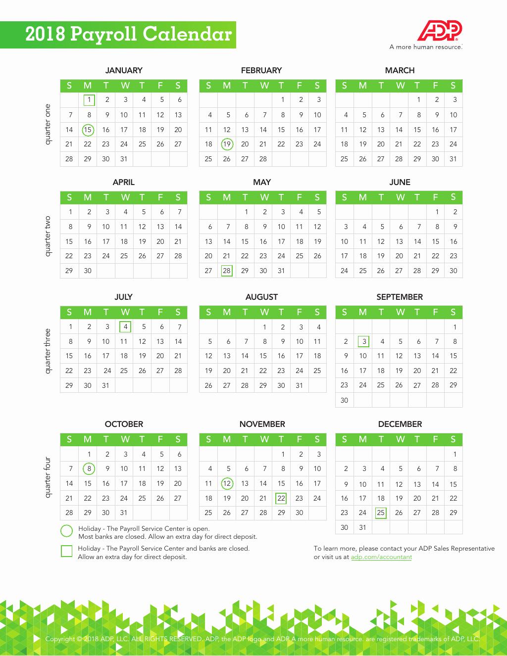 2019 Biweekly Payroll Calendar Template Beautiful 2018 Payroll Calendar Adp