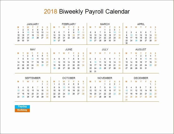 2019 Biweekly Payroll Calendar Template Best Of 2018 Biweekly Payroll Calendar Template