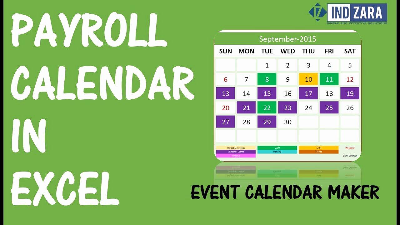 2019 Biweekly Payroll Calendar Template Fresh 2018 Biweekly Payroll Calendar Excel