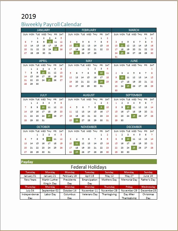 2019 Biweekly Payroll Calendar Template Inspirational 2018 Biweekly Payroll Calendar Template
