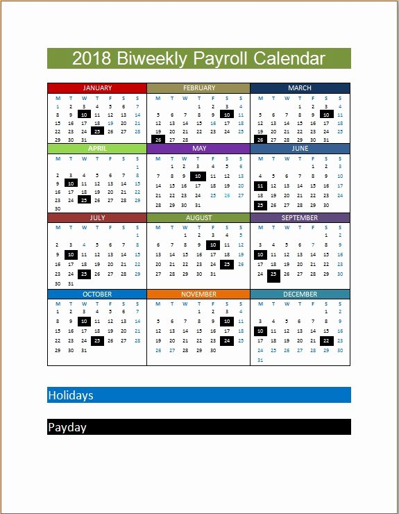 2019 Biweekly Payroll Calendar Template New 2018 Biweekly Payroll Calendar Template
