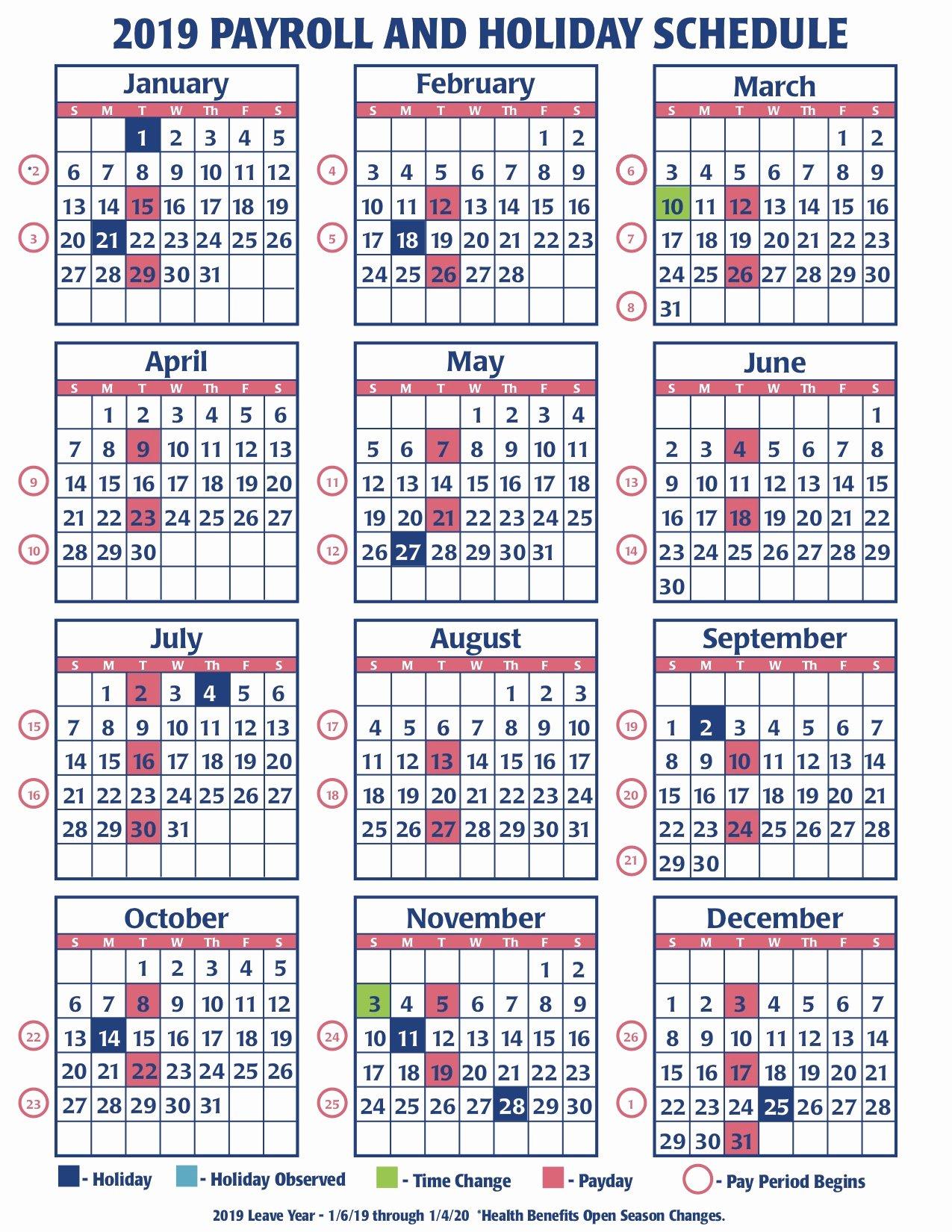 2019 Biweekly Payroll Calendar Template New Weekly Payroll Calendar for 2019