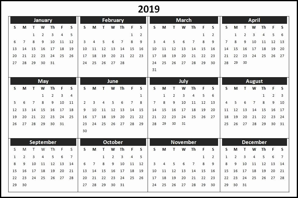 2019 Monthly Calendar Word Awesome Calendar Template 2019 Word
