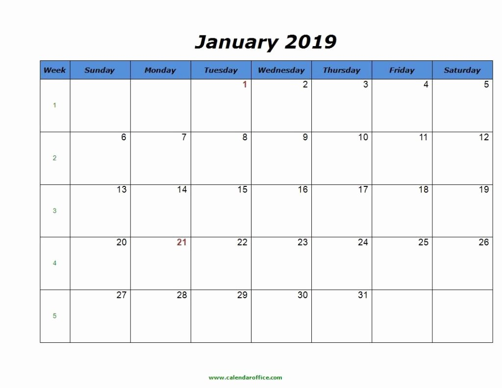 2019 Monthly Calendar Word Beautiful Free January 2019 Calendar In Printable format Templates