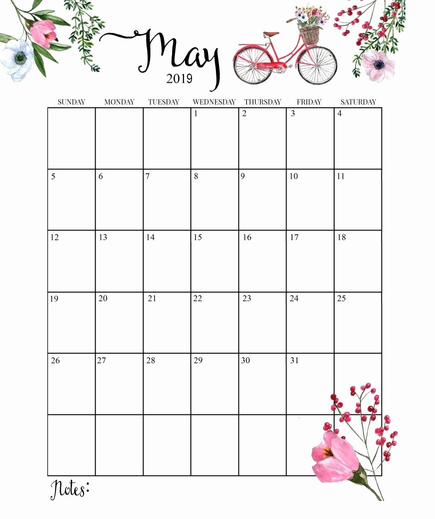 2019 Monthly Calendar Word Beautiful Free May 2019 Calendar Printable Template Blank Word Pdf Notes