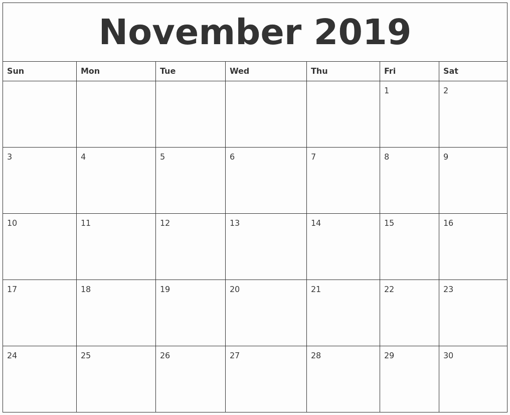 2019 Monthly Calendar Word Best Of November 2019 Word Calendar