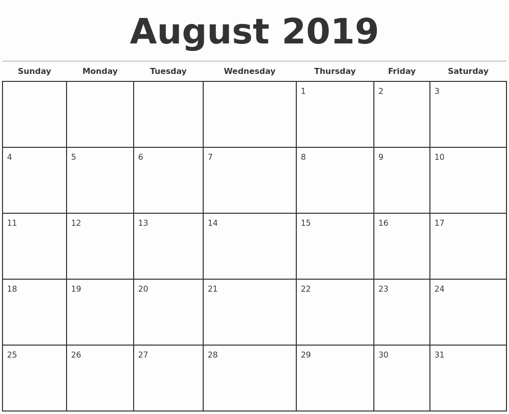 2019 Monthly Calendar Word Fresh 2019 Monthly Calendar Template