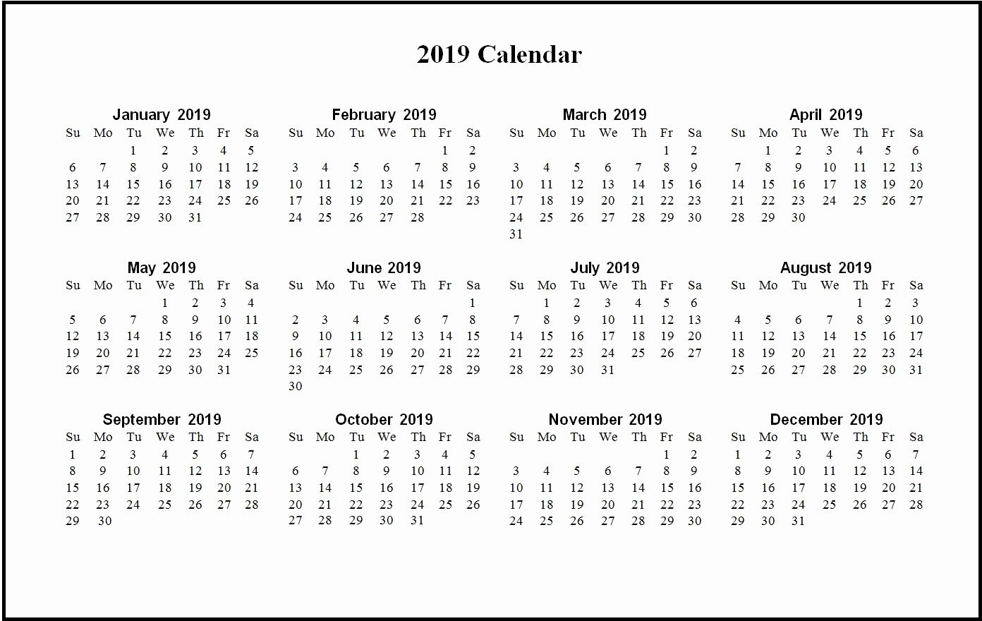 2019 Monthly Calendar Word Fresh 2019 Word Calendar