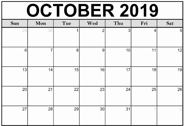 2019 Monthly Calendar Word Fresh October Calendar 2019 Printable Template – Pdf Word Excel