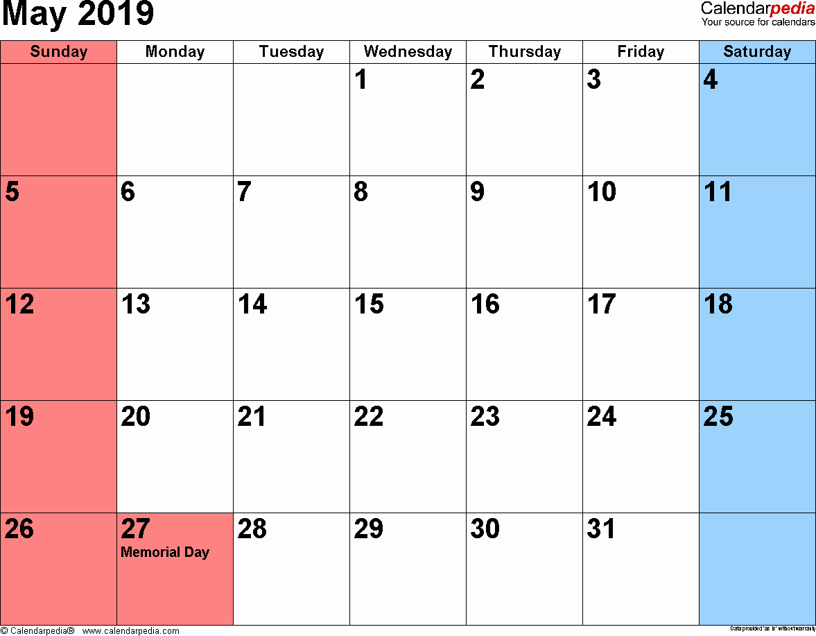 2019 Monthly Calendar Word Inspirational May 2019 Calendars for Word Excel & Pdf