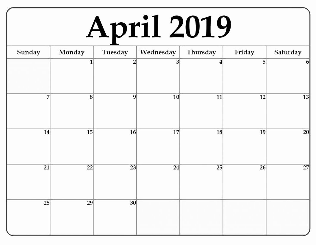2019 Monthly Calendar Word Unique April 2019 Word Calendar Template