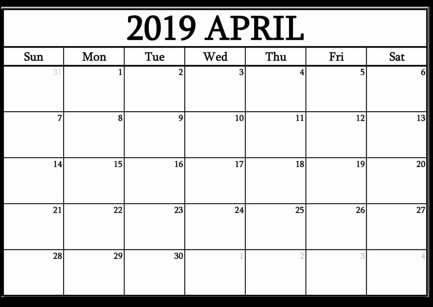 2019 Monthly Calendar Word Unique Editable April 2019 Word Calendar Templates