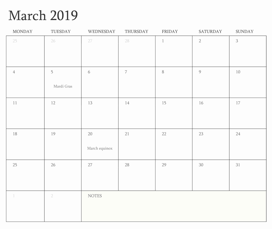 2019 Monthly Calendar Word Unique March 2019 Printable Calendar Word