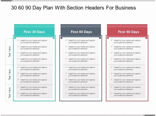 30 60 90 Plan Templates Luxury 30 60 90 Day Plan with Section Headers for Business