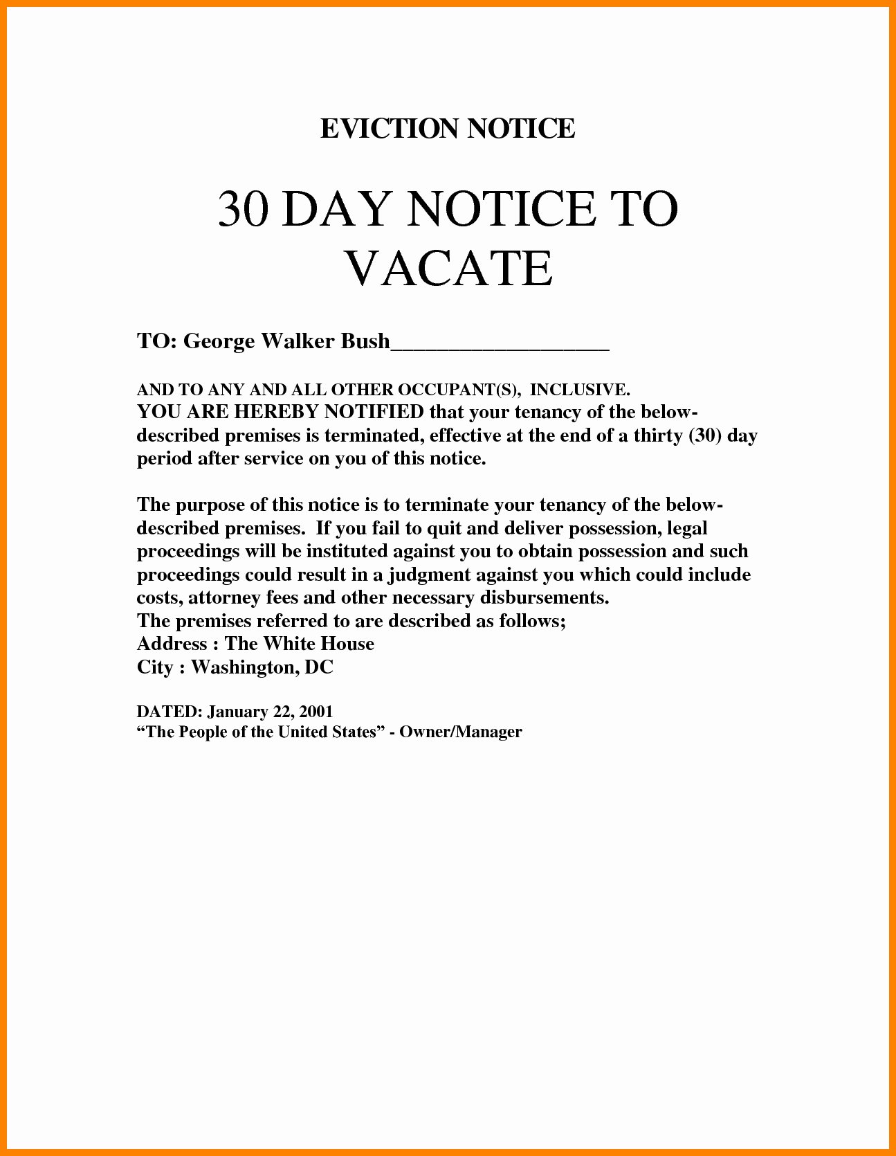 30 Day Eviction Notice form Awesome 30 Day Eviction Notice Template