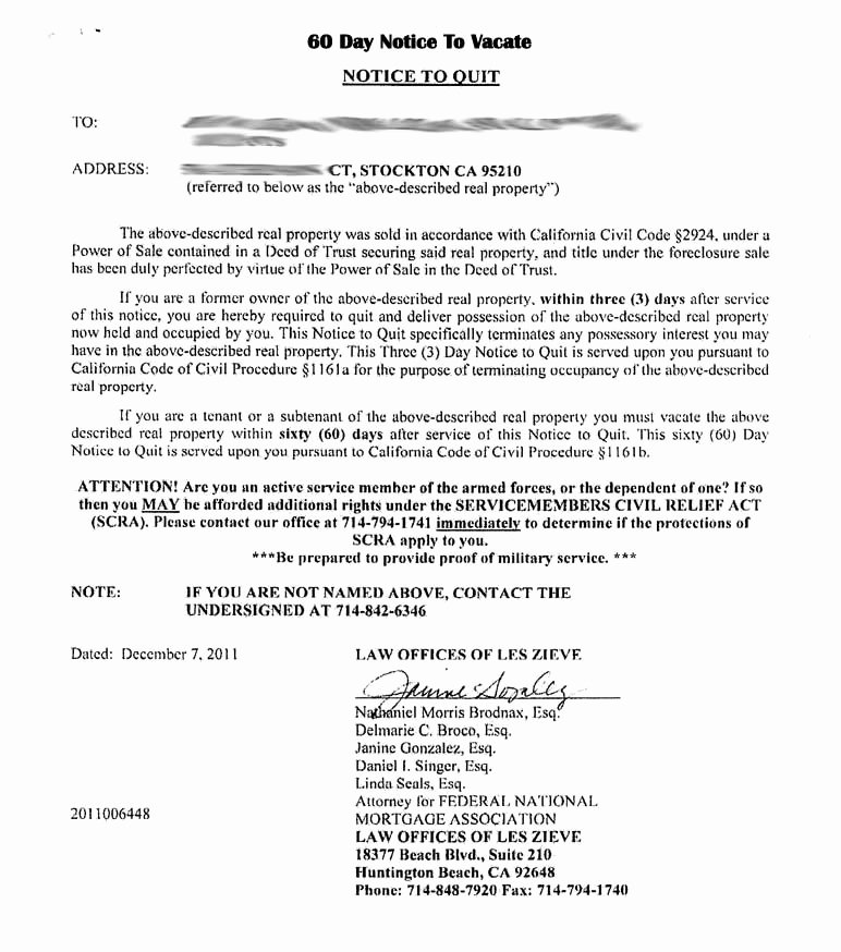 30 Day Eviction Notice form Fresh Tenant 30 Day Notice to Vacate