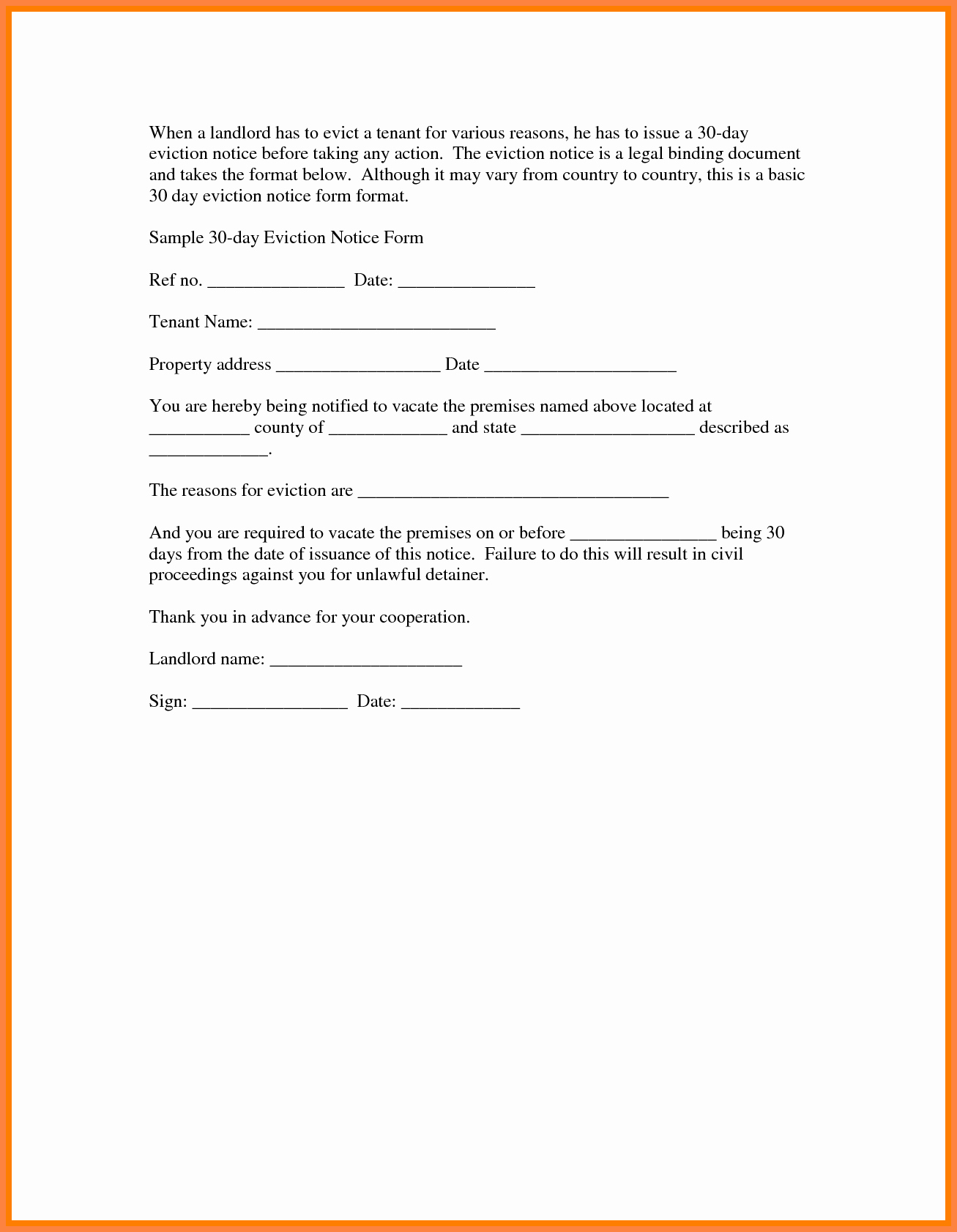 30 Day Eviction Notice form Inspirational 6 30 Day Eviction Notice Pdf