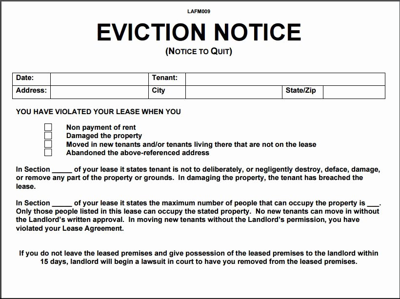 30 Day Eviction Notice form Lovely 12 Eviction Notice Template Examples