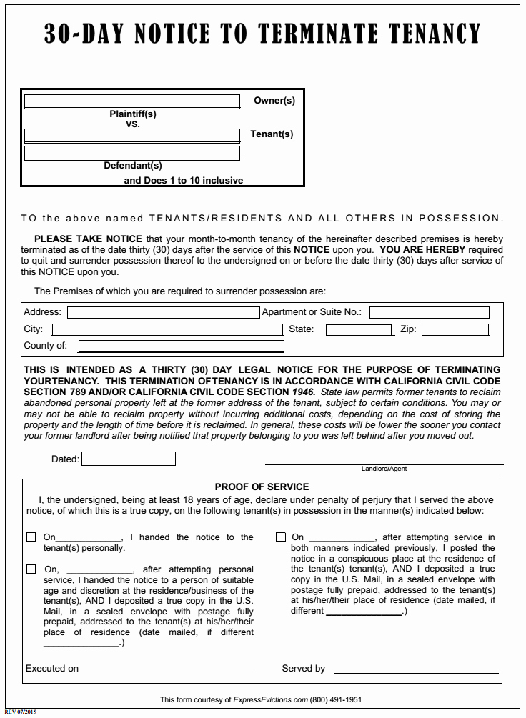 30 Day Eviction Notice form Lovely Free California Eviction form Pdf Template