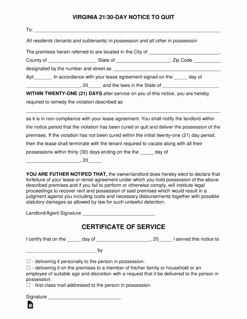 30 Day Eviction Notice form Lovely Virginia 21 30 Day Notice to Quit form