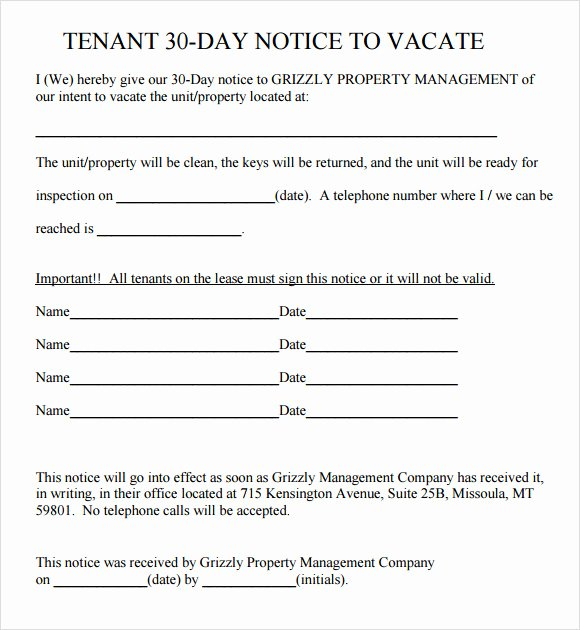 30 Day Eviction Notice form Unique Sample 30 Day Notice Template 10 Free Documents In Pdf