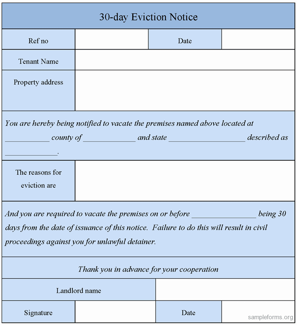 30 Day Eviction Notice Template Awesome 30 Day Eviction Notice form Sample forms