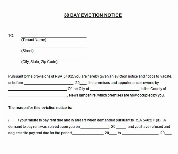 30 Day Eviction Notice Template Awesome 30 Day Notice to Tenant Pdf