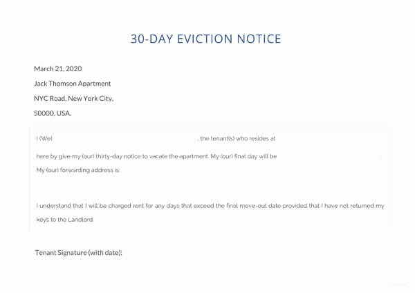 30 Day Eviction Notice Template Fresh 37 Eviction Notice Templates Doc Pdf