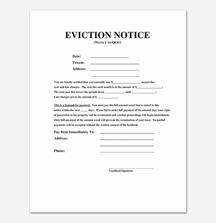 30 Day Eviction Notice Template Fresh Eviction Notice 24 Sample Letters & Templates