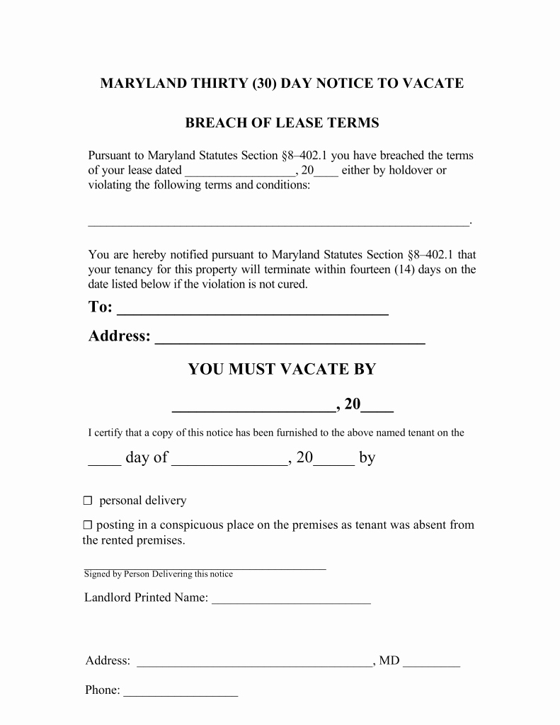 30 Day Eviction Notice Template Inspirational Maryland 30 Day Notice to Quit form