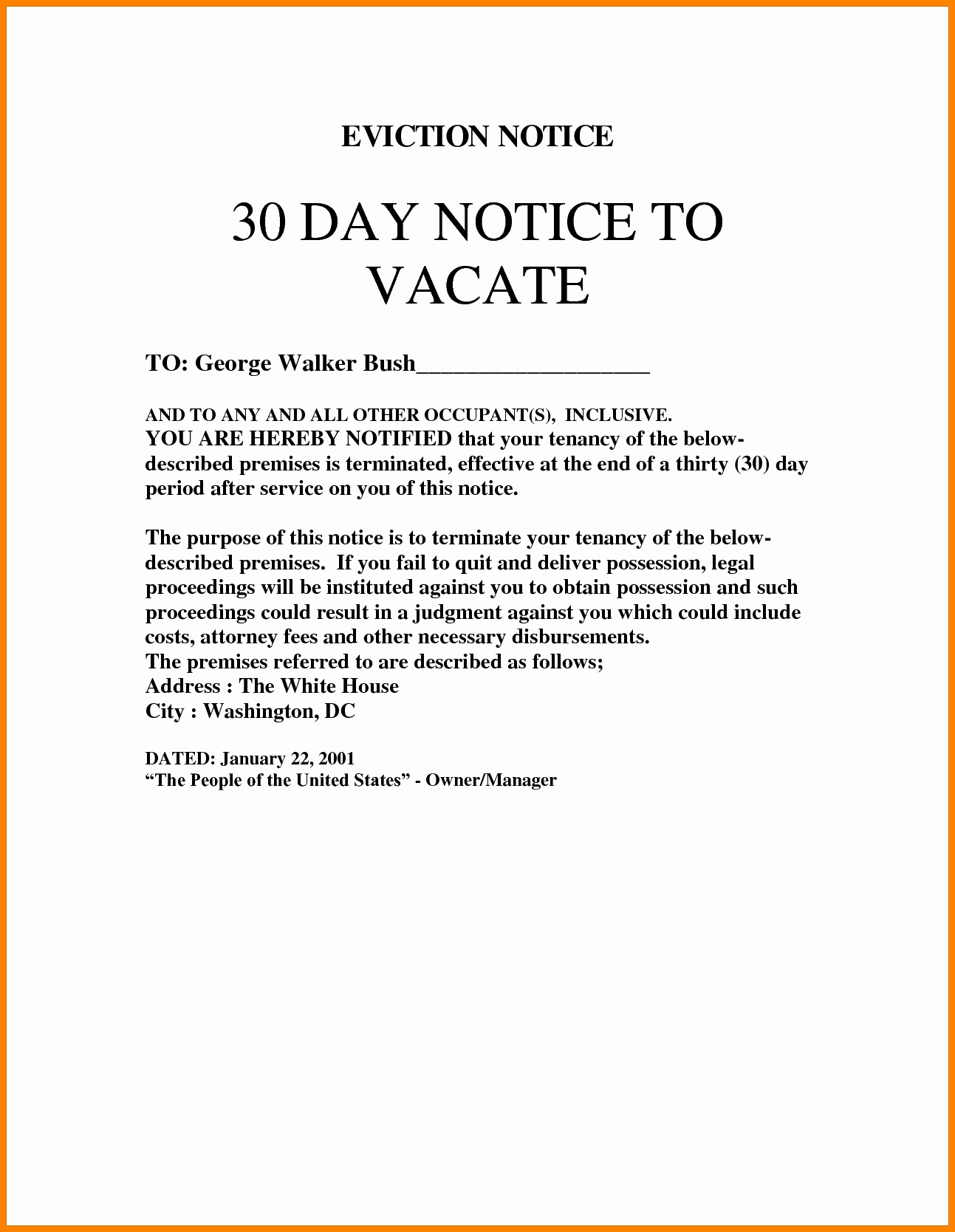 30 Day Eviction Notice Template New 30 Day Eviction Notice Template