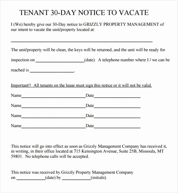 30 Day Eviction Notice Template Unique 24 Free Eviction Notice Templates Excel Pdf formats