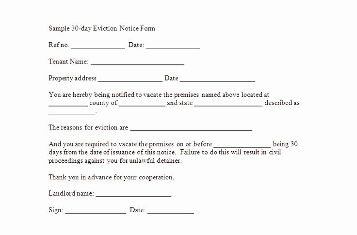 30 Day Eviction Notice Template Unique Printable Sample 30 Day Notice to Vacate Template form