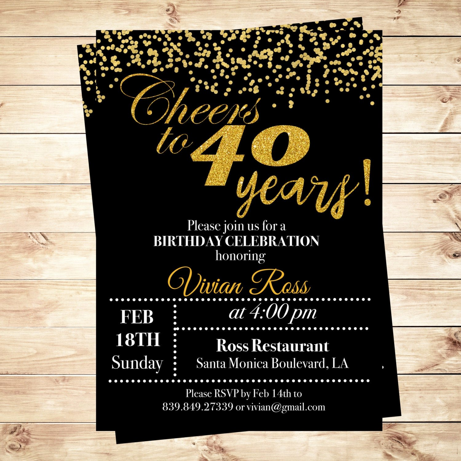 40th Birthday Invitation Wording Awesome Cheers to 40 Years Birthday Printable Invitation 40th