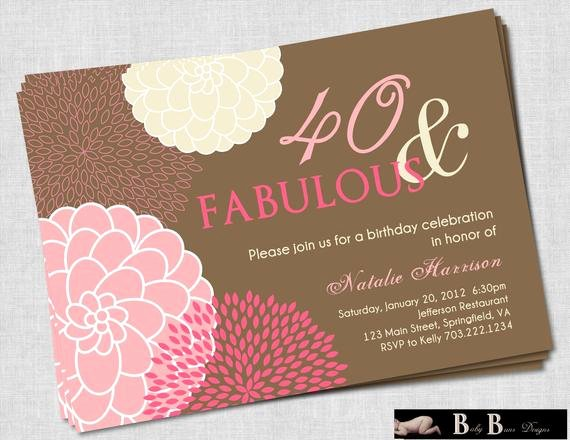 40th Birthday Invitation Wording Elegant 40 and Fabulous 40th Birthday Invitation Pink & Brown