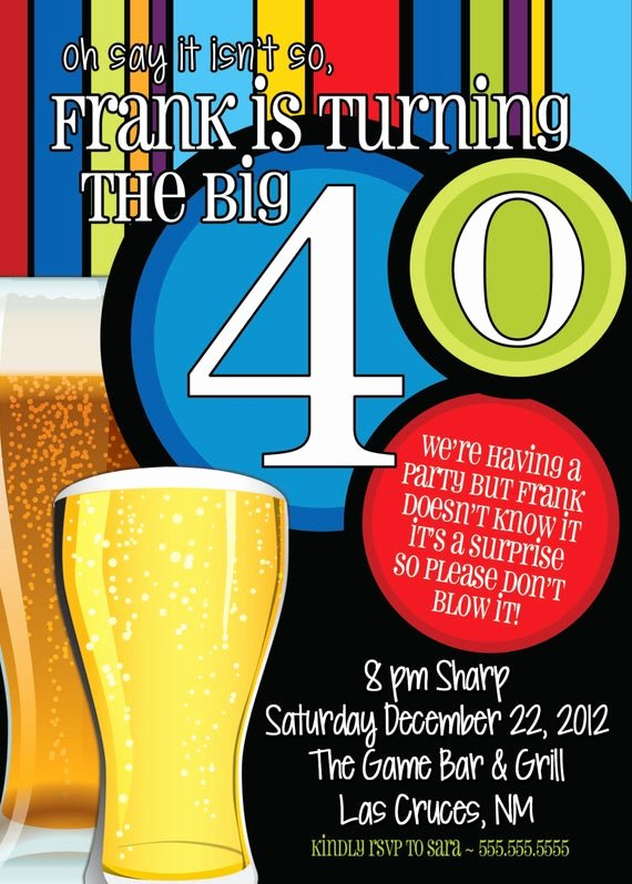 40th Birthday Invitation Wording Elegant 40th Birthday Surprise Party Invitations Beer Men by
