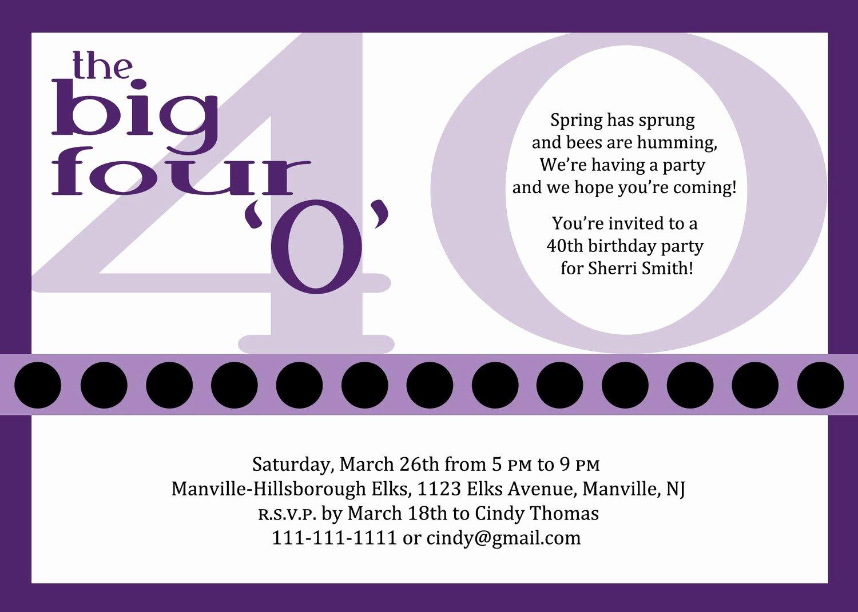 40th Birthday Invitation Wording Fresh 10 Birthday Invite Wording Decision – Free Wording
