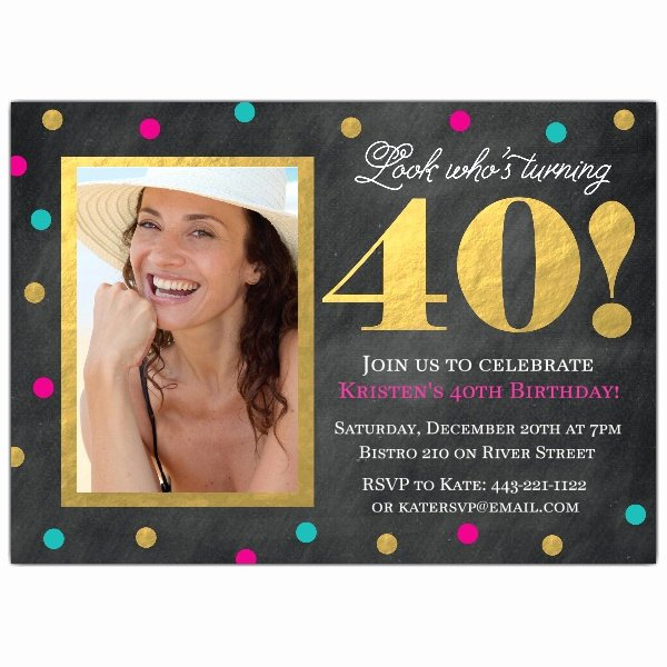 40th Birthday Invitation Wording Fresh Gold Foil Confetti 40th Birthday Invitations