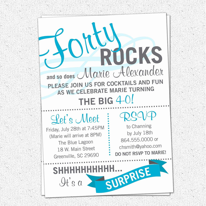 40th Birthday Invitation Wording Fresh Surprise 40th Birthday Invitations Wording
