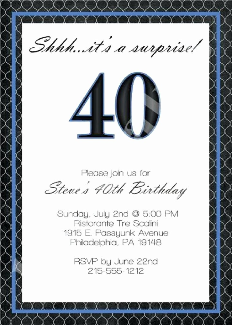 40th Birthday Invitation Wording Inspirational 40th Birthday Invitation Wording for Men